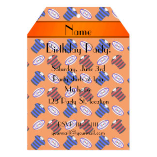 Personalized name orange jerseys rugby balls personalized invitation