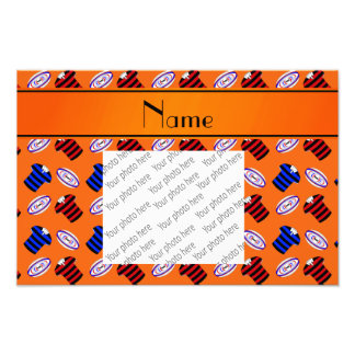 Personalized name orange jerseys rugby balls photograph