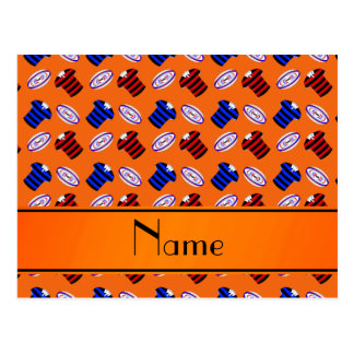 Personalized name orange jerseys rugby balls postcard