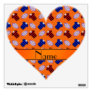 Personalized name orange jerseys rugby balls room decal