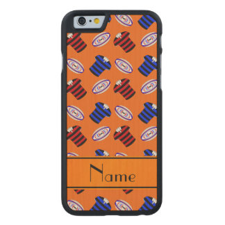 Personalized name orange jerseys rugby balls carved® maple iPhone 6 slim case