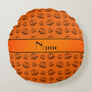 Personalized name orange justice scales round pillow
