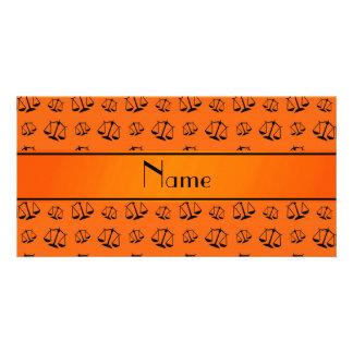 Personalized name orange justice scales photo card