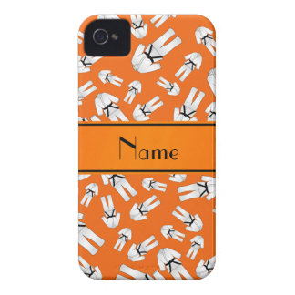 Personalized name orange karate pattern iPhone 4 cases