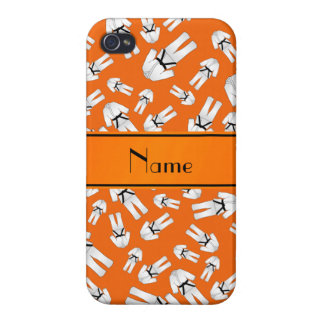 Personalized name orange karate pattern cover for iPhone 4