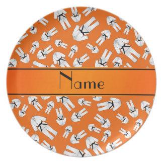 Personalized name orange karate pattern party plates