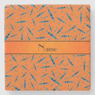 Personalized name orange kayaks stone beverage coaster