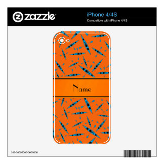 Personalized name orange kayaks iPhone 4 decal
