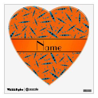 Personalized name orange kayaks room sticker