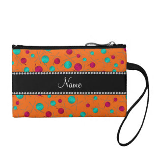 Personalized name orange knitting pattern coin purses