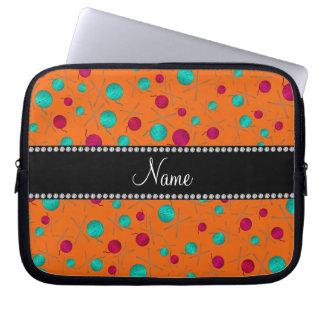 Personalized name orange knitting pattern computer sleeve