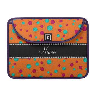 Personalized name orange knitting pattern MacBook pro sleeve