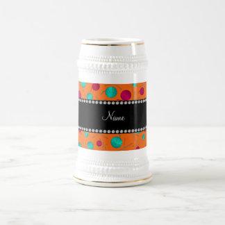 Personalized name orange knitting pattern 18 oz beer stein