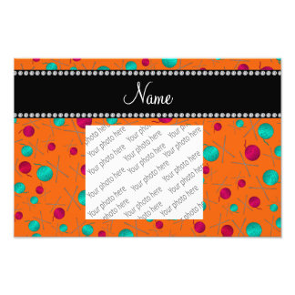 Personalized name orange knitting pattern photo print