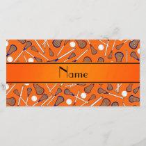 Personalized name orange lacrosse pattern
