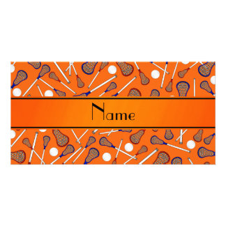 Personalized name orange lacrosse pattern card