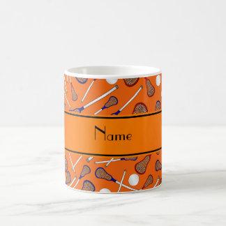 Personalized name orange lacrosse pattern coffee mug