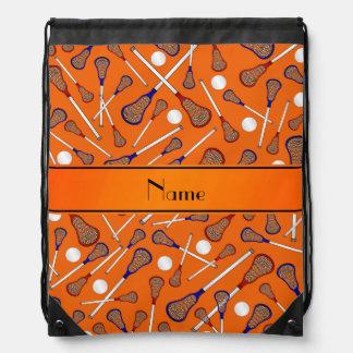 Personalized name orange lacrosse pattern drawstring backpack