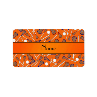 Personalized name orange lacrosse pattern label