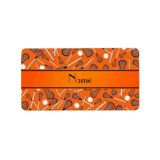 Personalized name orange lacrosse pattern label