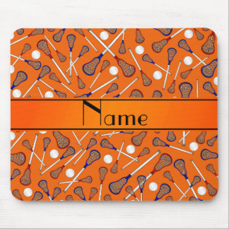 Personalized name orange lacrosse pattern mouse pad