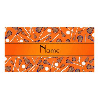 Personalized name orange lacrosse pattern photo card