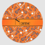 Personalized name orange lacrosse pattern stickers