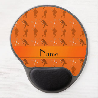 Personalized name orange lacrosse silhouettes gel mouse pad