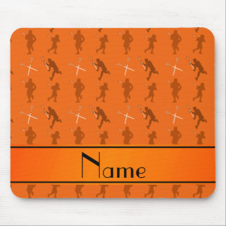 Personalized name orange lacrosse silhouettes mouse pad