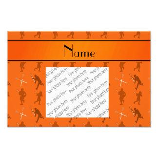 Personalized name orange lacrosse silhouettes photo print