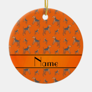 Personalized name orange Lakeland Terrier dogs Ceramic Ornament