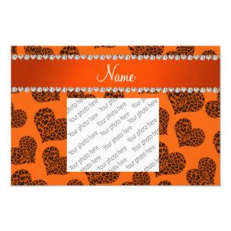 Personalized name orange leopard hearts photo print