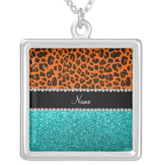 Personalized name orange leopard turquoise glitter personalized necklace