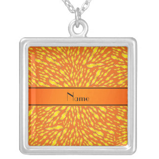 Personalized name orange lightning bolts necklace