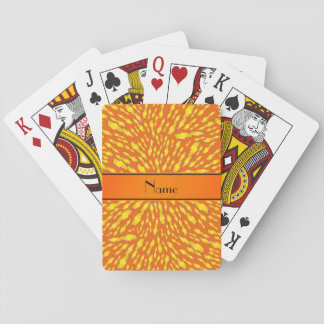 Personalized name orange lightning bolts playing cards