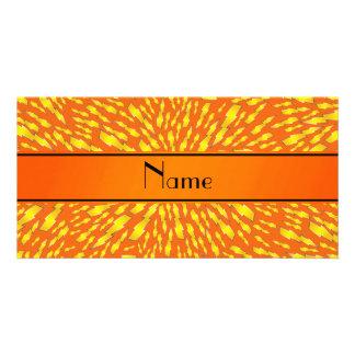 Personalized name orange lightning bolts photo greeting card