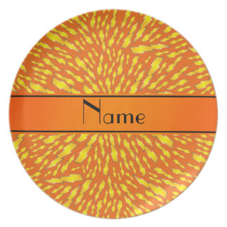 Personalized name orange lightning bolts party plate
