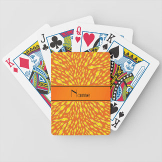 Personalized name orange lightning bolts bicycle playing cards
