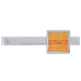 Personalized name orange lightning bolts silver finish tie bar
