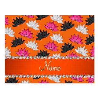 Personalized name orange lotus flowers postcard