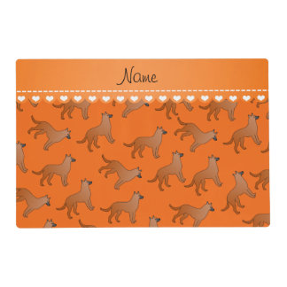 Personalized name orange malinois dogs placemat