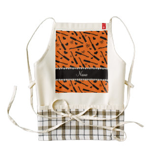 Personalized name orange mascara hearts bows zazzle HEART apron