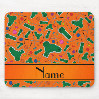 Personalized name orange mini golf mouse pads