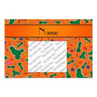 Personalized name orange mini golf photo
