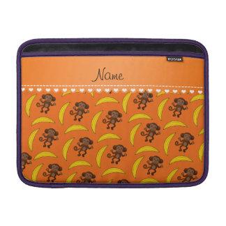 Personalized name orange monkey bananas sleeve for MacBook air