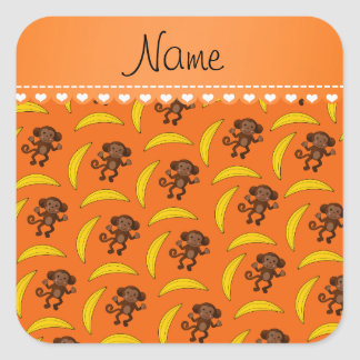 Personalized name orange monkey bananas square sticker