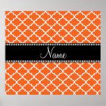 Personalized name orange moroccan pattern poster