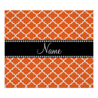 Personalized name orange moroccan pattern poster