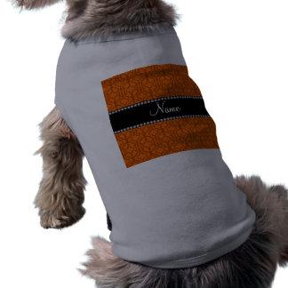 Personalized name orange moroccan quatrefoil dog shirt