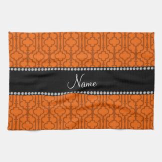 Personalized name orange moroccan quatrefoil hand towels